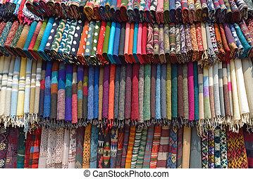 nepal, tecido, tamel, asia., mercado, traditionnal