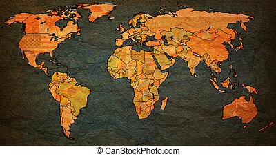 nepal territory on world map - nepal flag on old vintage ...