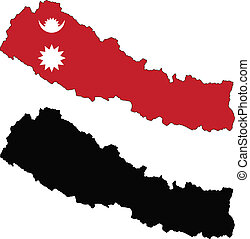 nepal - vector map and flag of Nepal with white background....