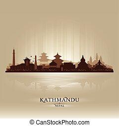 nepal, vektor, silhouette, stadt, kathmandu, skyline