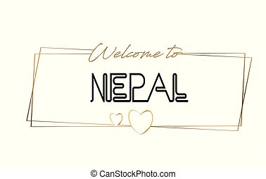Nepal Welcome to text Neon lettering typography. Word for logotype, badge, icon, postcard, logo, banner Vector Illustration.