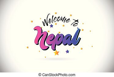 Nepal Welcome To Word Text with Purple Pink Handwritten Font and Yellow Stars Shape Design Vector.