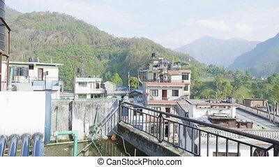 Nepalese city Besisahar. Morning time. - Nepalese city ...