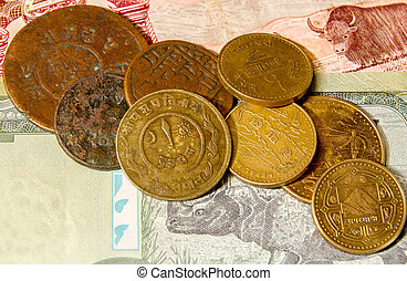 Nepalese coins on the banknotes.