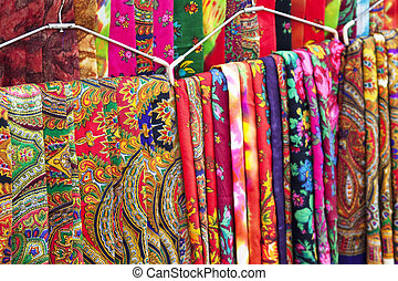 Image of fabric in Nepalese style for sale at Kathmandu, Nepal.