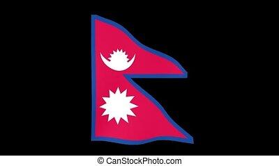 Nepalese flag . Waving - Flag animation Background deleted...