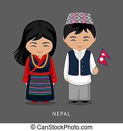 Nepalese in national dress with a flag.