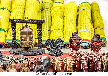 Nepalese souvenir shop - Close up photo of a souvenir shop...
