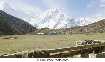 Nepalese village Bimthand among the mountains. Manaslu ...