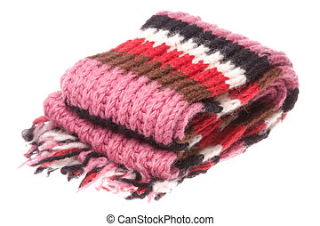 Isolated image of Nepalese woolen scarf.