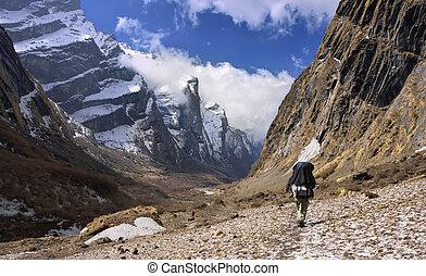 nepali guide at the modi khola valley nepal