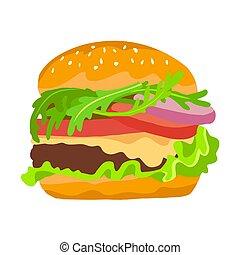 neposkvrněný, šťavnatý, ilustrace, grafické pozadí, hamburger., barva, lahodný