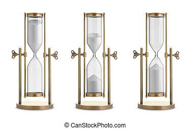 neposkvrněný, dát, hourglasses, grafické pozadí, osamocený