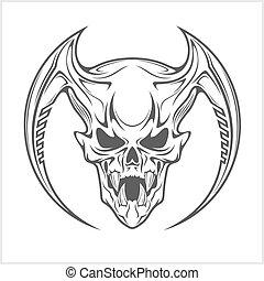 neposkvrněný, démon, lebka