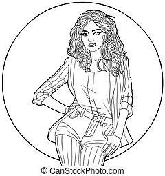neposkvrněný, manželka, čerň, circle., ilustrace
