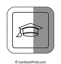 neposkvrněný, symbol, promoce, klobouk, ikona