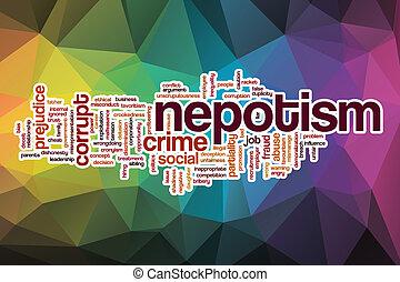 nepotism, palavra, nuvem, com, abstratos, fundo