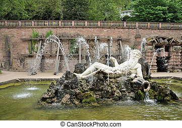 Neptun fountain at the old castle in Heidelberg, Germany