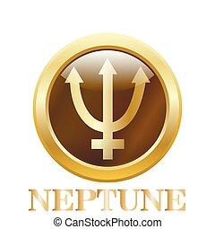 Neptune - Round glossy round button. Neptune. Vector...
