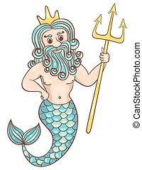 Neptune. Isolated on white. Children vector cartoon...