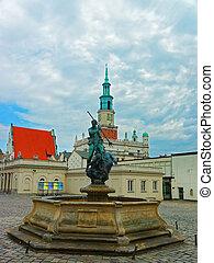 Neptune fountain at Old Market Square in Poznan