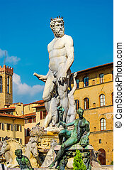 Neptune Fountain in Florence Accademia, Italy, summer time, ...