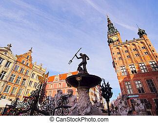 Neptune Fountain in Gdansk, Poland - Fountain of Neptune on...