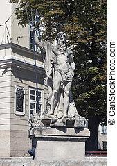 Neptune fountain in Lviv, Ukraine