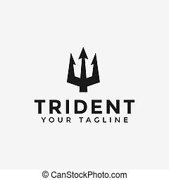 neptune, gabarit, logo, conception, poseidon, trident