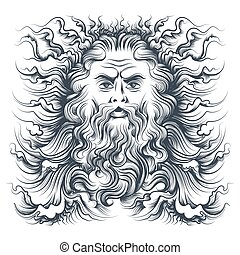 Neptune Head Illustration - Roman sea god Neptune head....