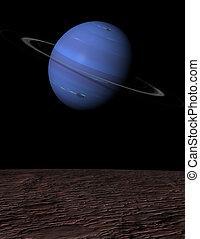 Neptune rising over Triton - Portrait - The planet Neptune...