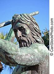 Neptune Statue - A bronze statue of Neptune located in...