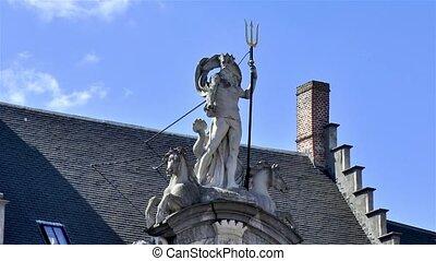 Neptune Statue in Ghent, Gent, Belgium.