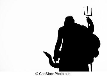 Neptune statue silhouette - the silhouette of Neptune (...