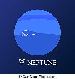 neptune, style, planète, plat