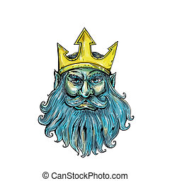 Neptune Trident Crown Head Woodcut - Woodcut style...