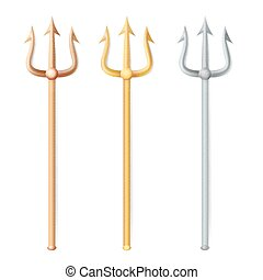 Neptune Trident Vector. Realistic 3D Silhouette Of Neptune Or Poseidon Weapon. Pitchfork Sharp Fork Object. Isolated On White Background.