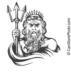Neptune with Trident - Neptune holds Trident drawn in...