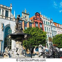 neptune's, chafariz, em, gdansk, polônia