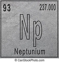 Neptunium chemical element, Sign with atomic number and atomic weight, Periodic Table Element, silver background
