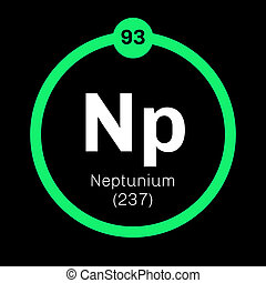 Neptunium chemical element. Synthetic element. Colored icon with atomic number and atomic weight. Chemical element of periodic table.