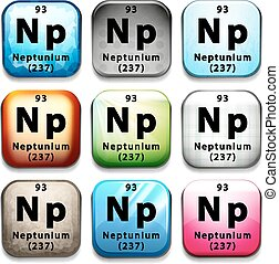 Illustration of an element neptunium