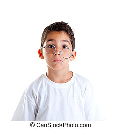 nerd , ανόητος , γυαλιά , έκφραση , παιδιά , παιδί