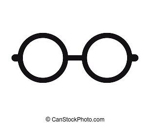nerd, ガラス, 隔離された, アイコン