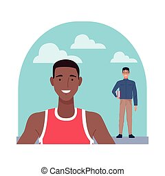 nerd and basketball player perfectly imperfect characters vector illustration design