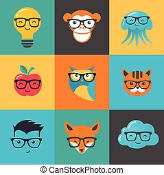 nerd, animais, ícones, -, símbolos, hipster, geek, esperto