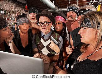 nerd, bando, louco, membros, preocupado