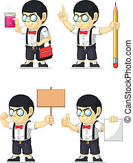 A vector set of a nerdy boy in several poses. Drawn in cartoon style, this vector is very good for design that need children element in cute, funny, colorful and cheerful style.