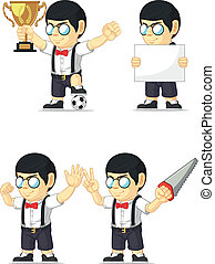 Nerd Boy Customizable Mascot 3
