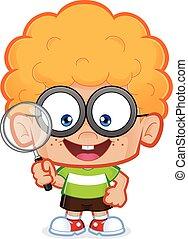 Nerd boy holding a magnifying glass